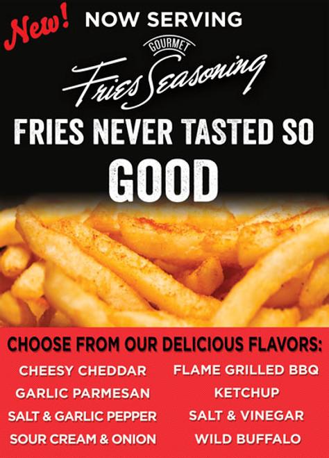 Gourmet Fries Seasonings PVC Flavor Menu Black
