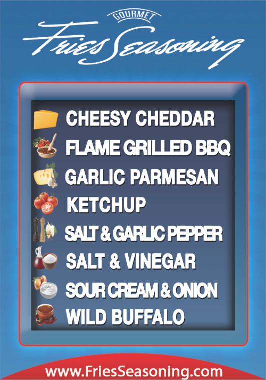 Gourmet Fries Seasonings PVC Flavor Menu Blue