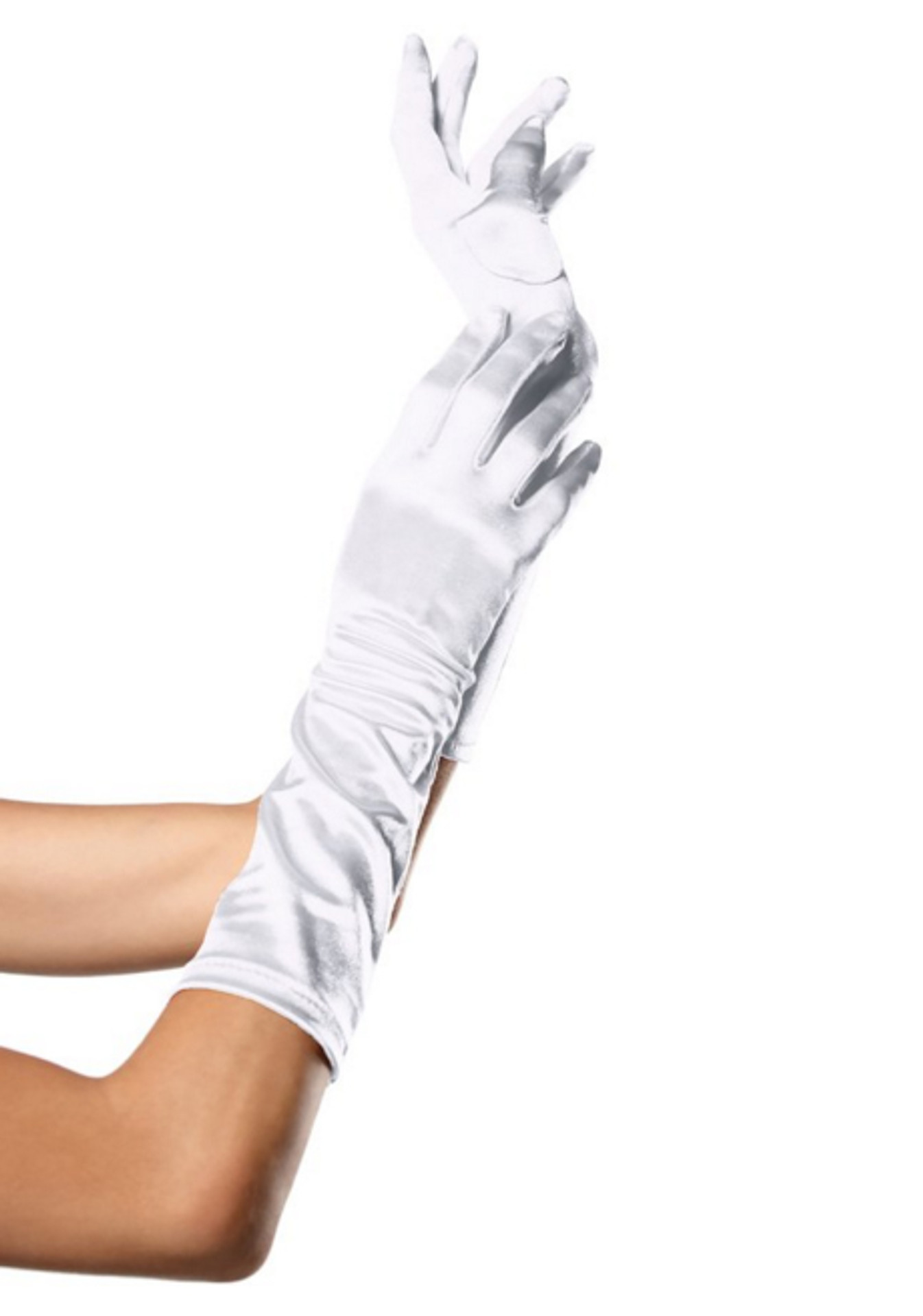 White  Satin Opera Gloves
