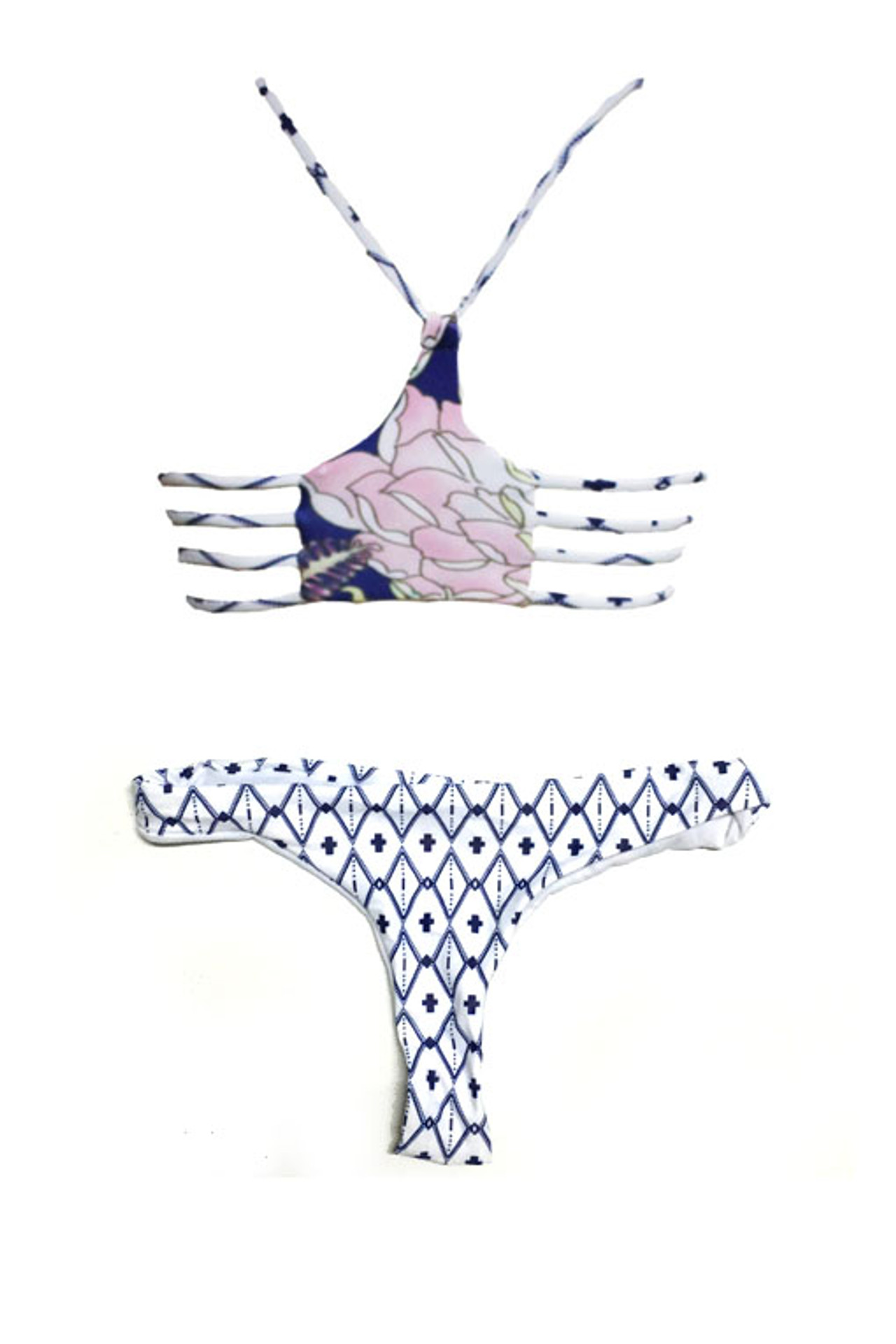 Floral Racerback Bandeau & Thong Two Piece Bikini