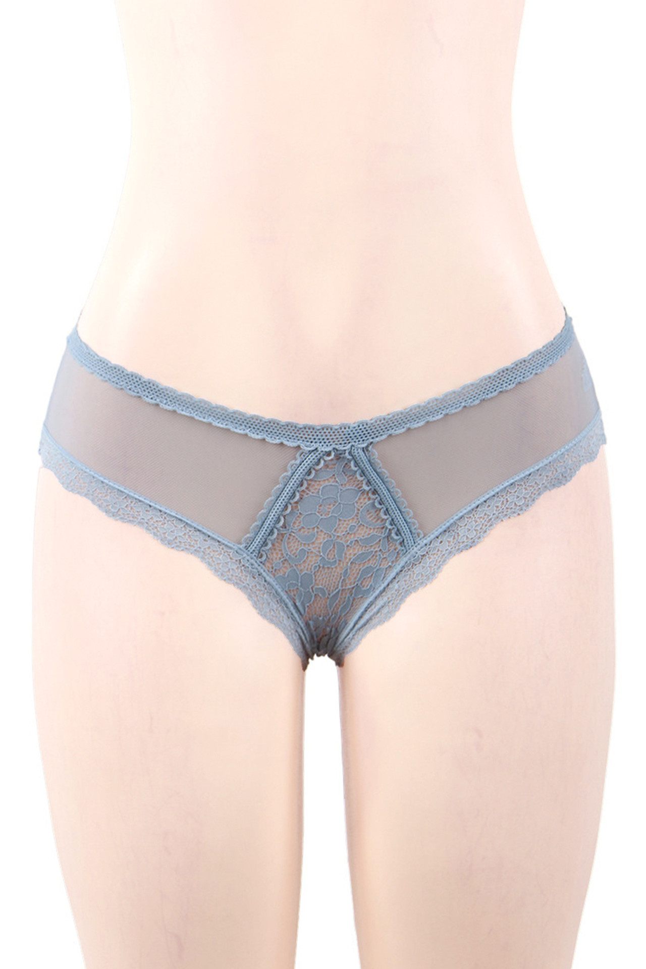 Emily Gray Blue Lace Strappy Panty