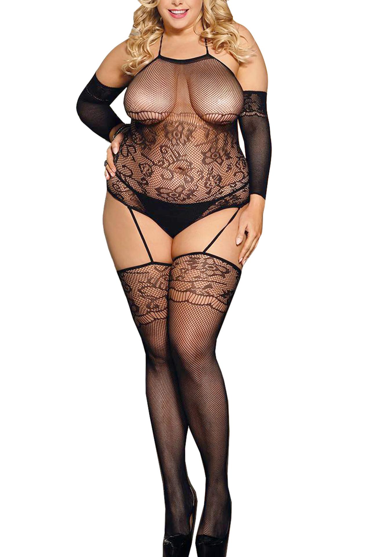 Jasmine Garter Teddy Body Stockings Plus Size