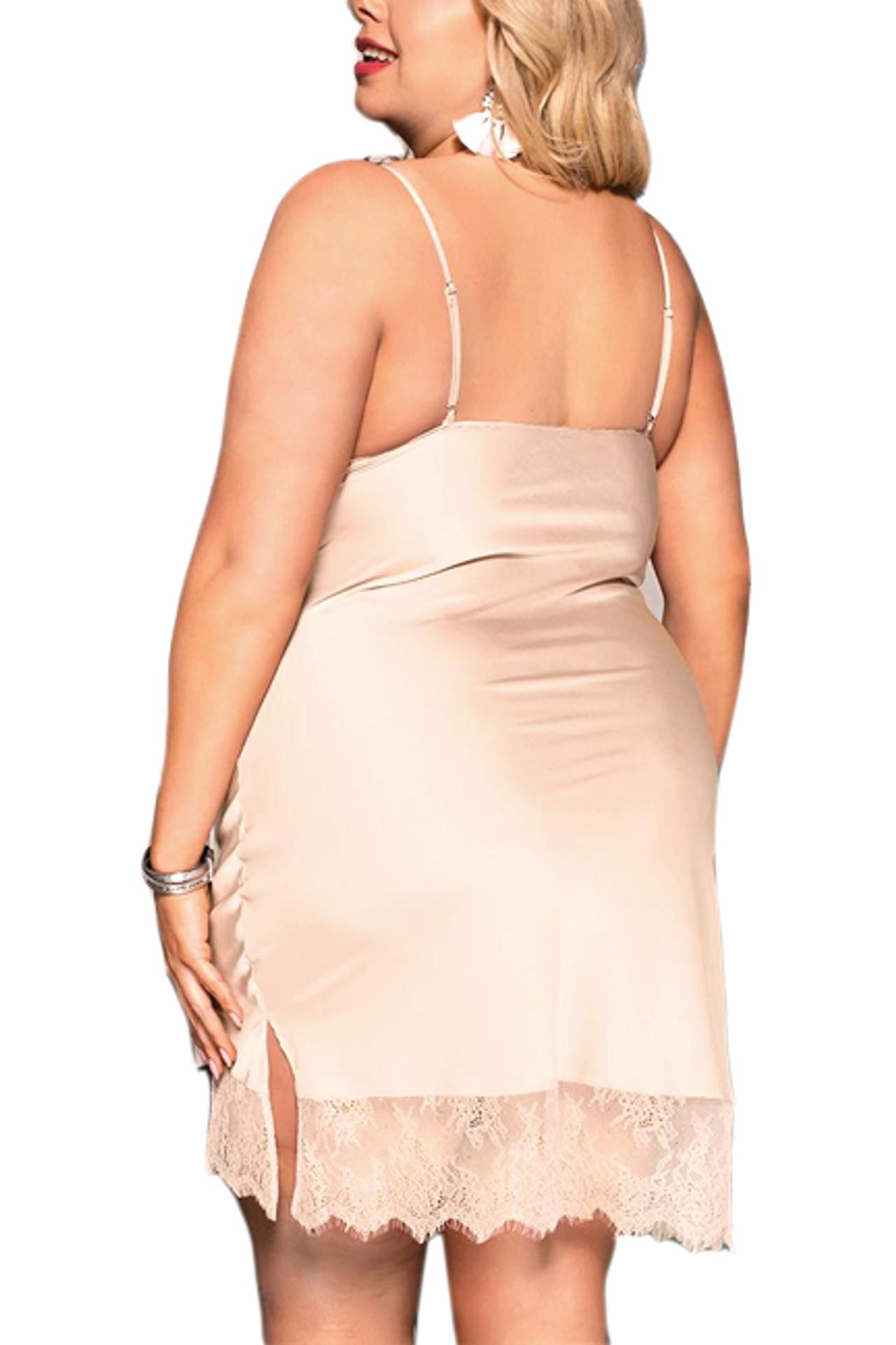 Mabel Nude Satin Sleep Chemise Plus Size