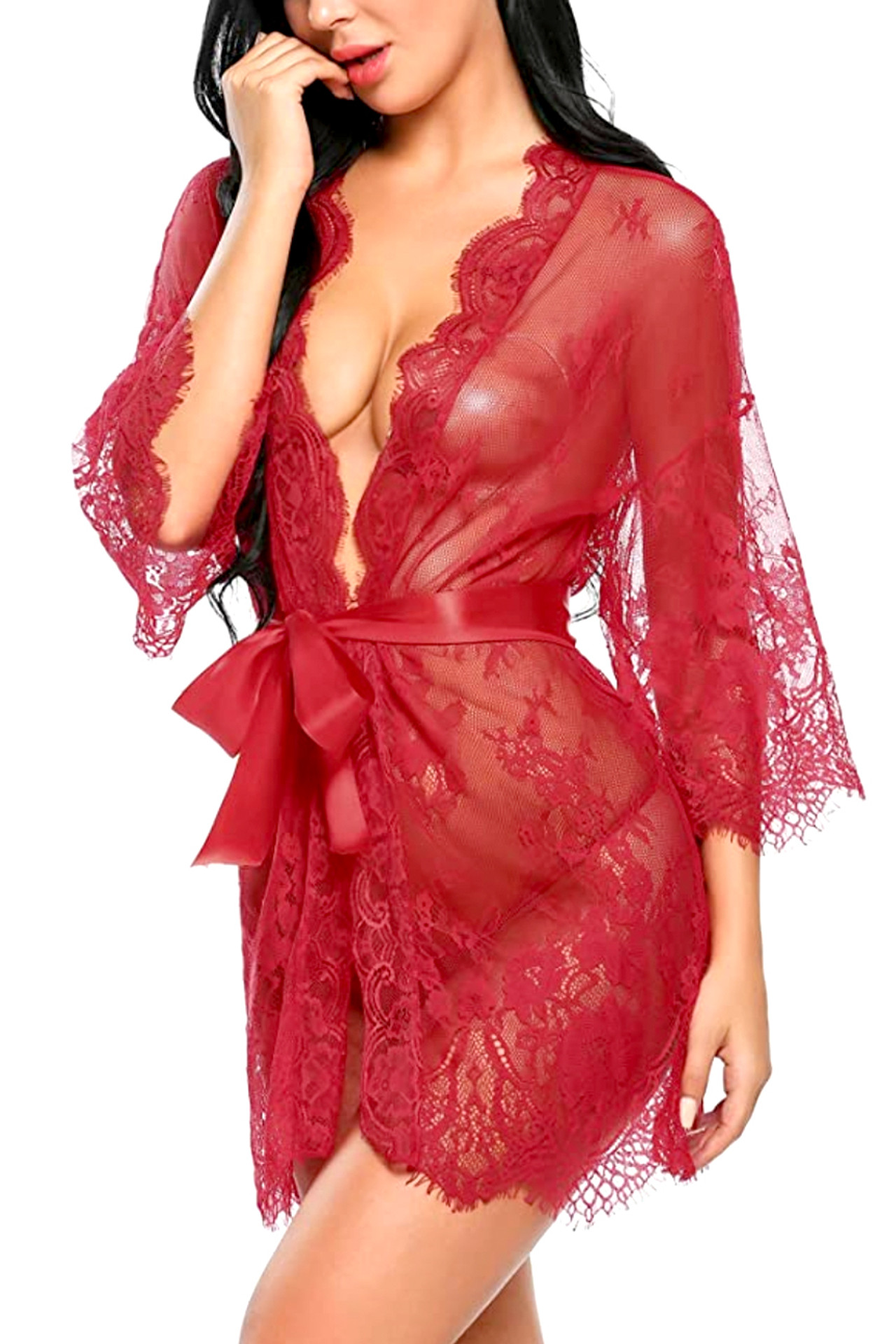 Red Debbie Sheer Eyelash Lace Kimono Robe