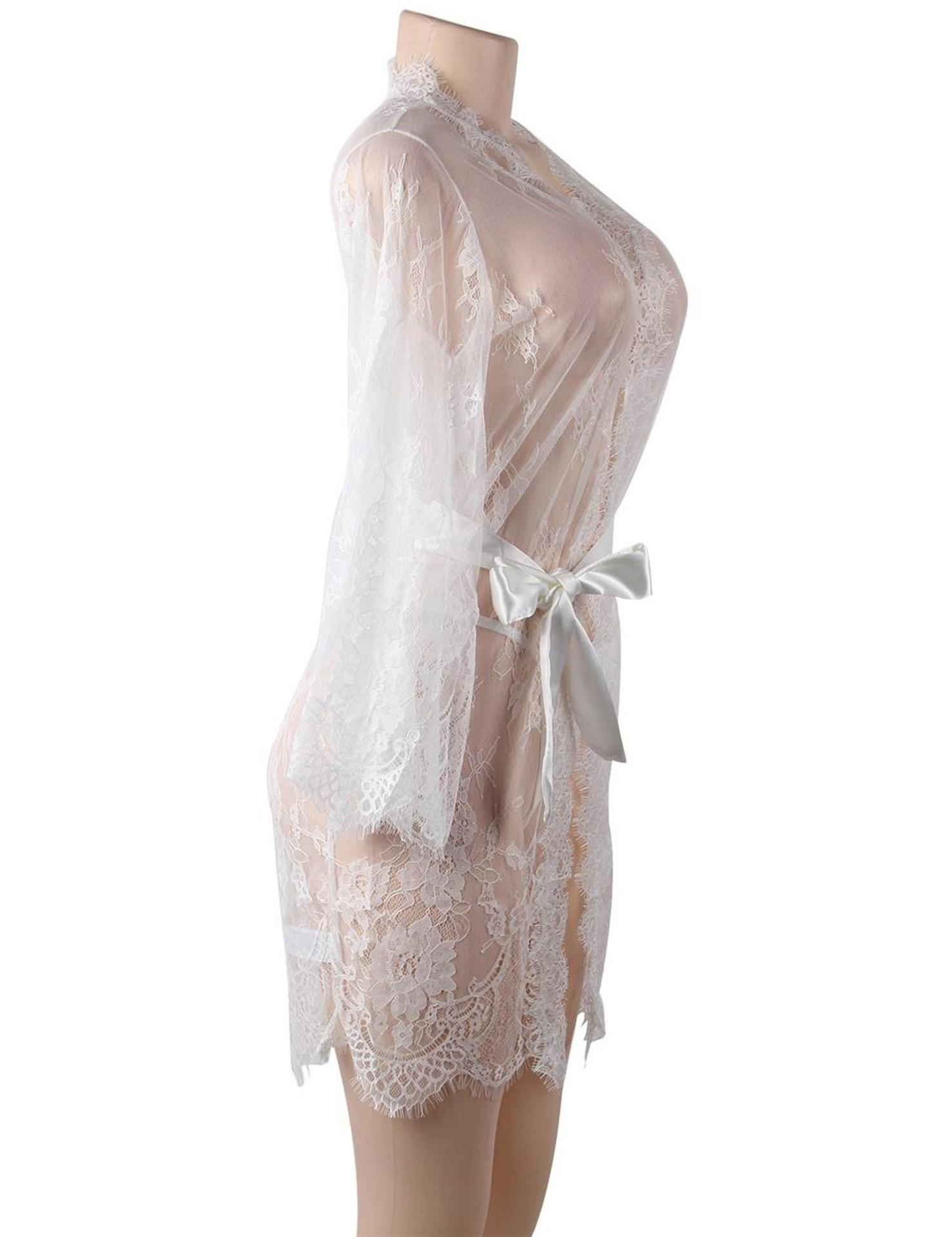 White Debbie Sheer Eyelash Lace Kimono Robe Plus Size