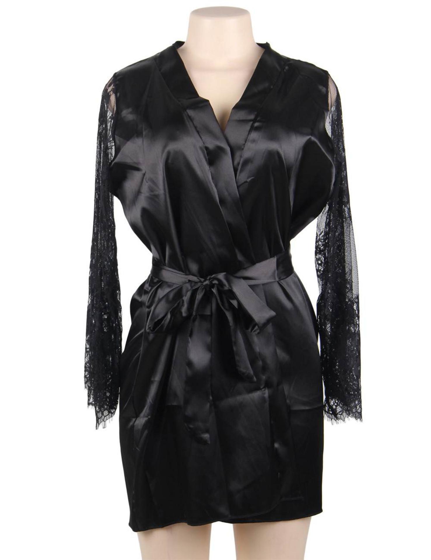 Emy Black Satin Lace Sleeves Robe Set Plus Size