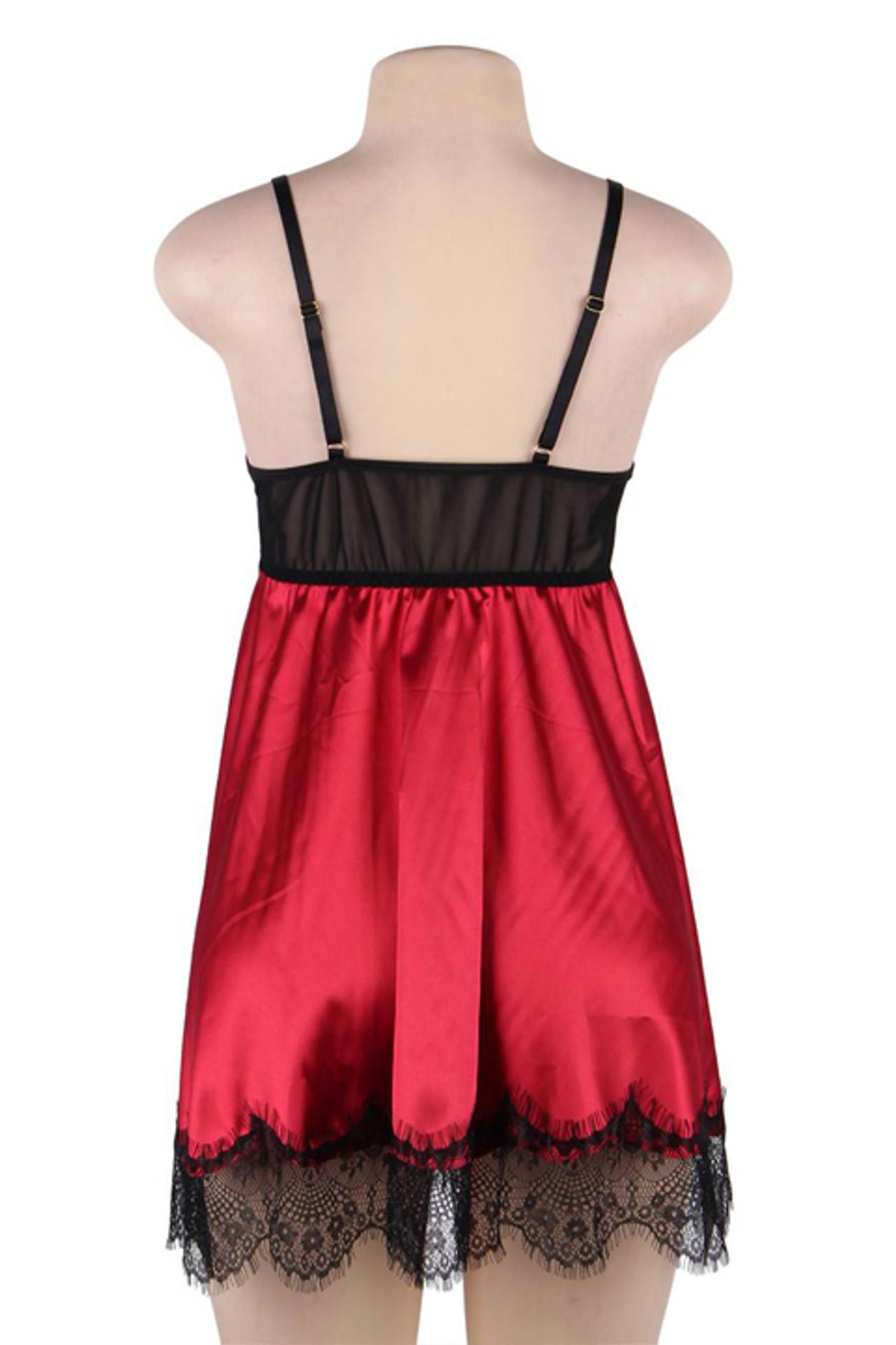Scarlett Black Lace Red Satin Babydoll