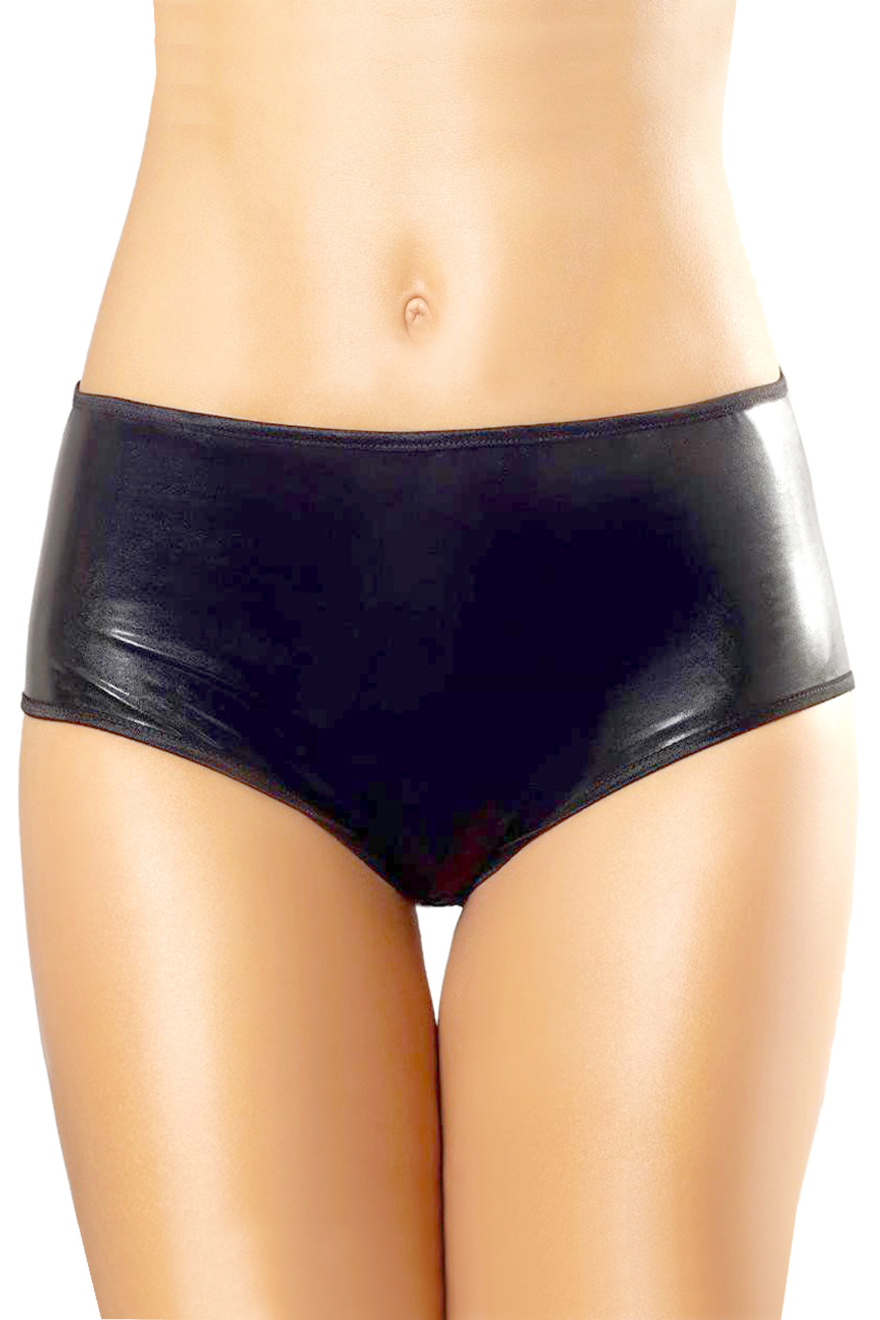 Vivica Black Vinyl Faux Leather Chained Panty
