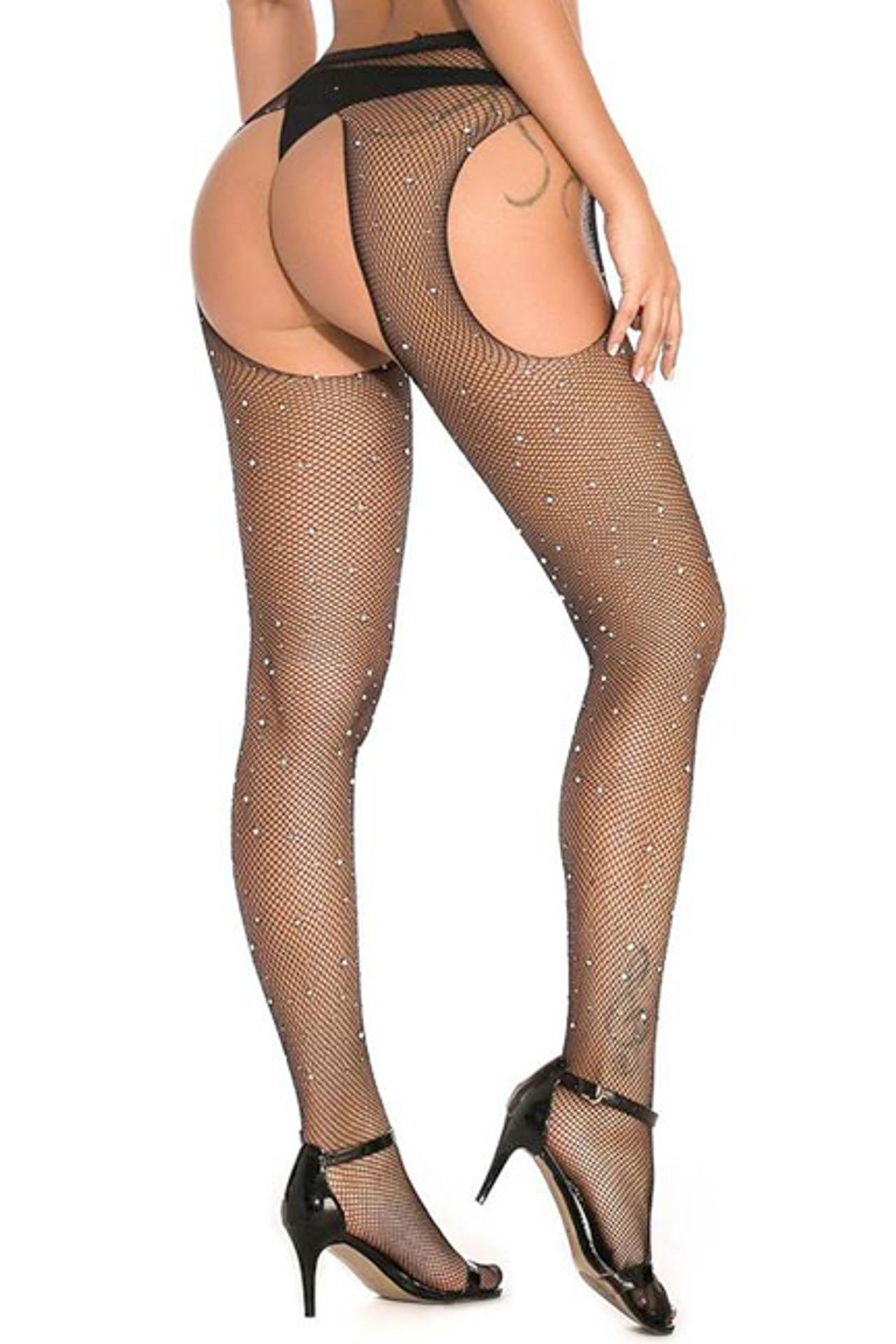 Black Sparkle Fishnet Rhinestone Garter Pantyhose