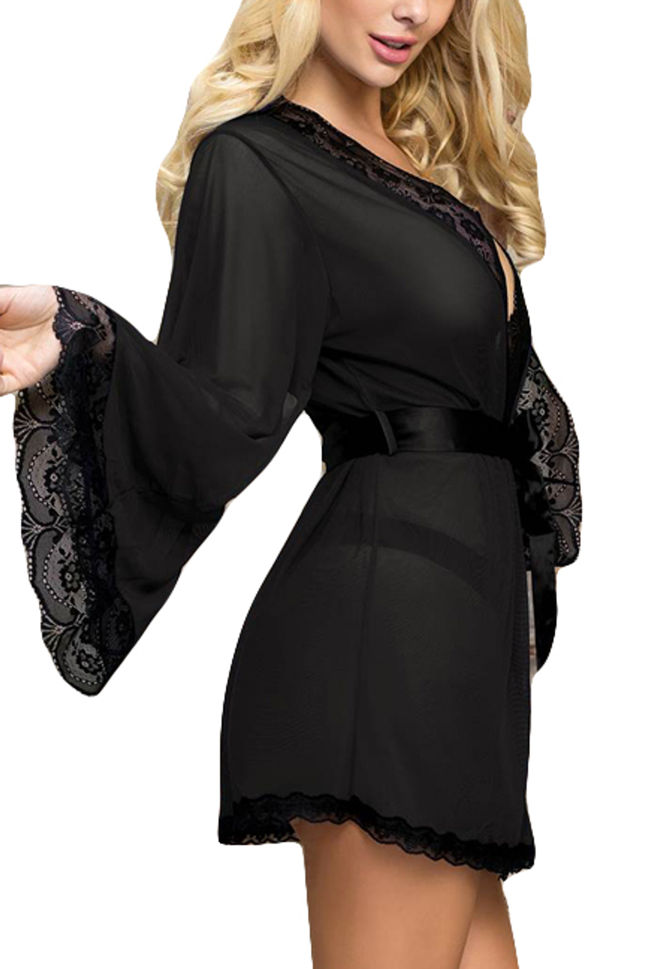 Matilda Black Sheer Lace Elegant Kimono Robe