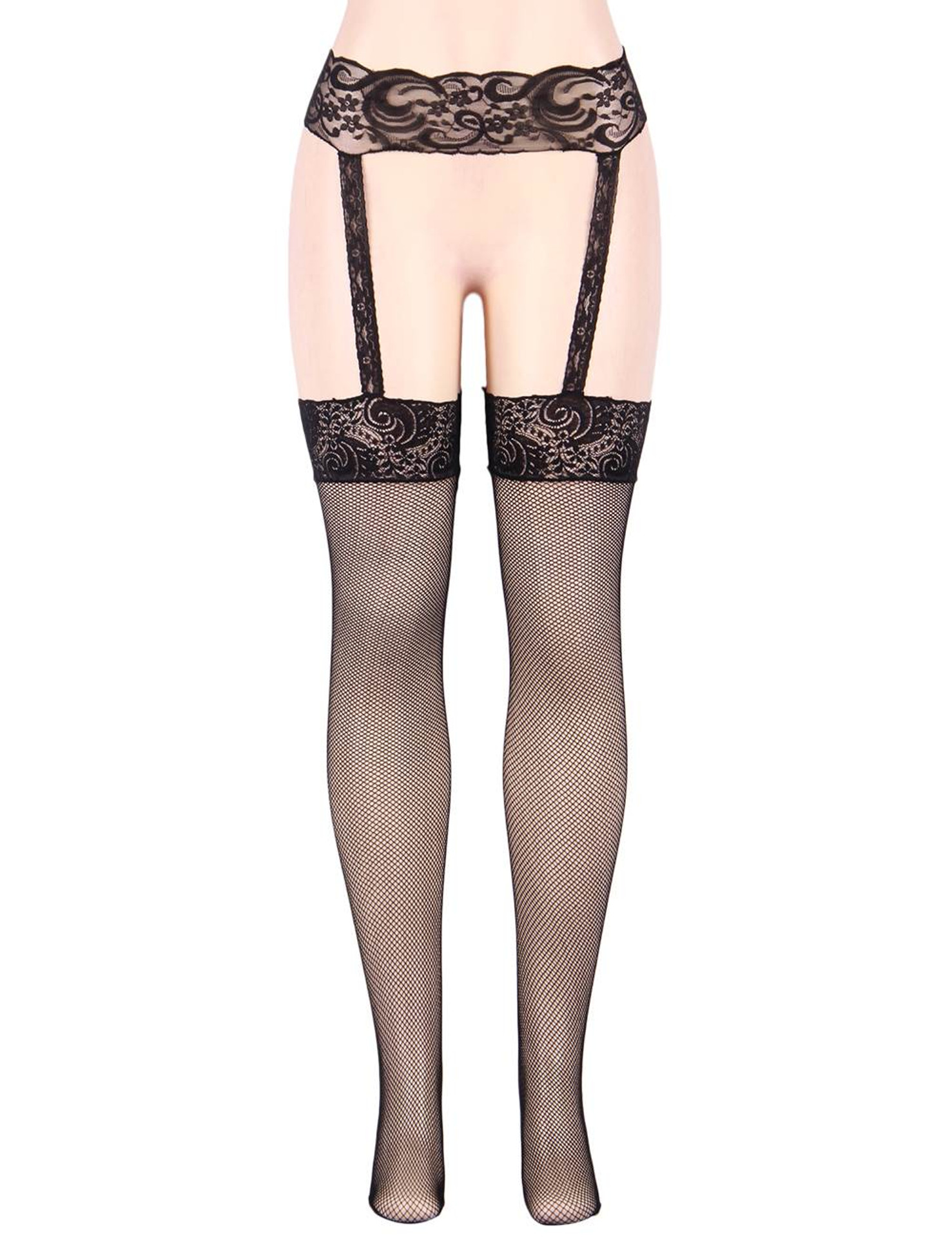 Black Lace Garter Belt with attached Lace Top Fishnet Garter Hose Stockings