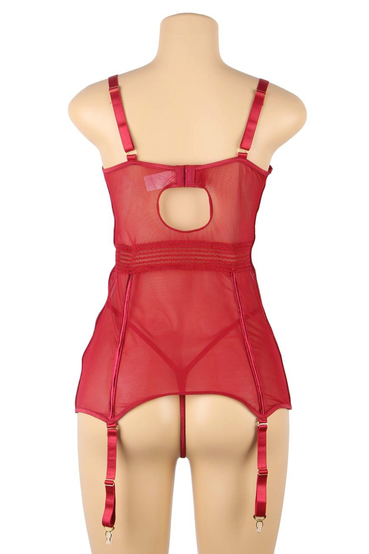 Alessandra Red Lace Mesh Garter Chemise Plus Size