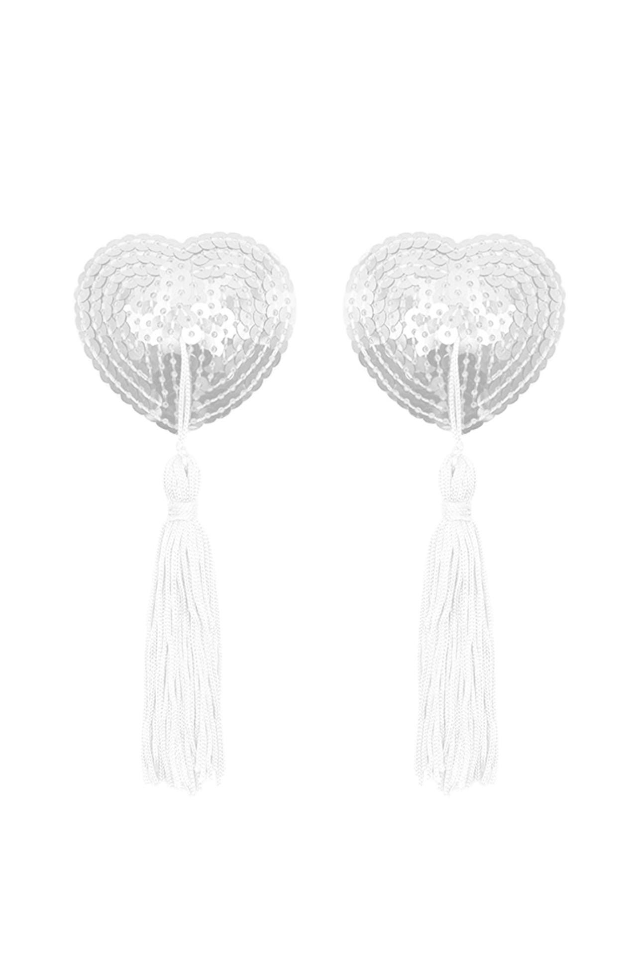 White Heart Sequin Nipple Tassel Pasties