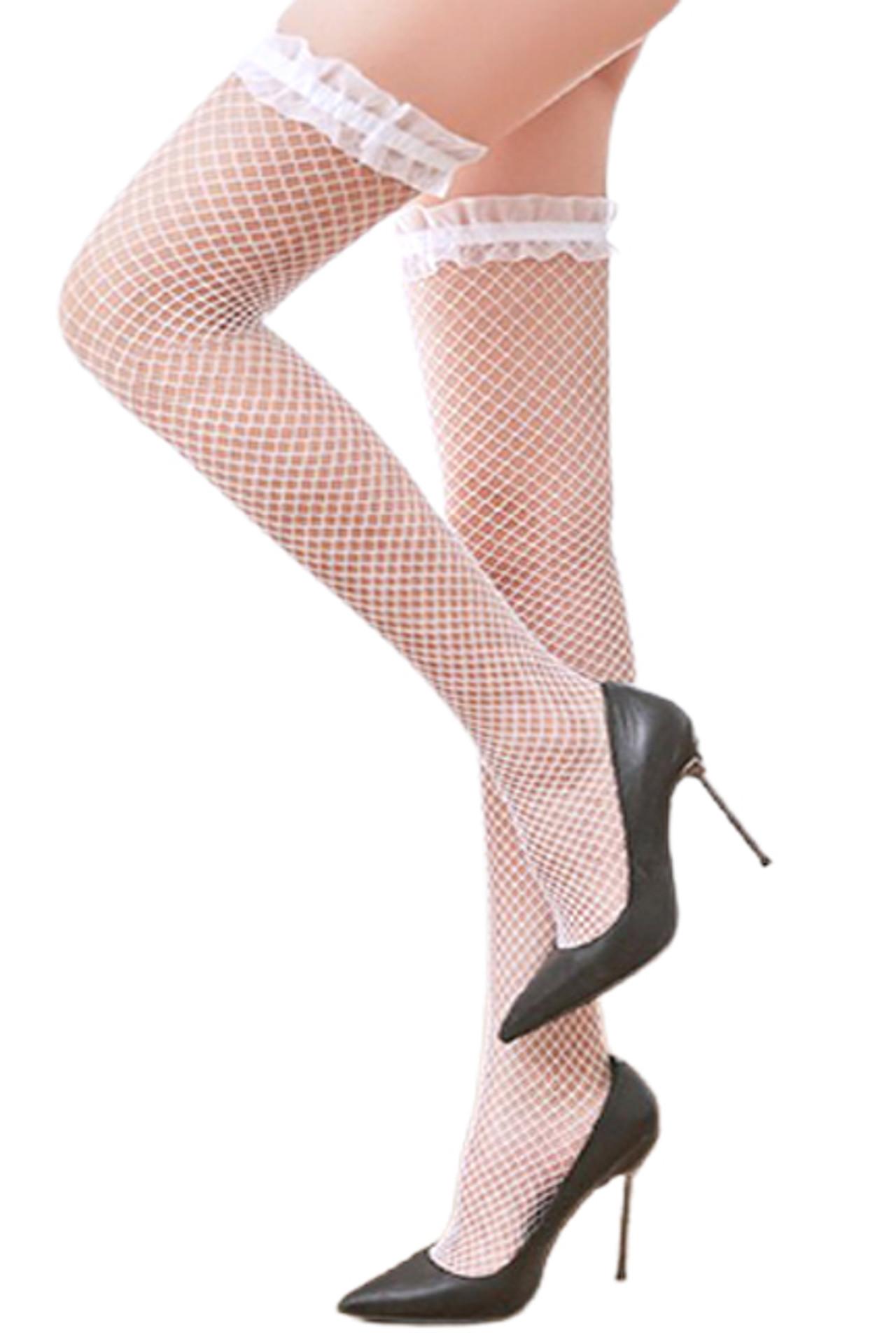 White Ruffled Tulle Fishnet Thigh Stockings