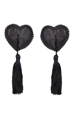 Burlesque Black Heart Satin Tassel Nipple Pasties