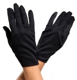 Black Short Wrist Length Satin Costume Gloves