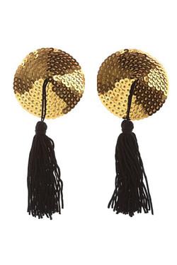 Gold Sequin Black Tassel Reusable Adhesive Burlesque Nipple Pasties