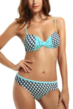 Retro Blue Houndstooth Padded Halter Two Piece Bikini