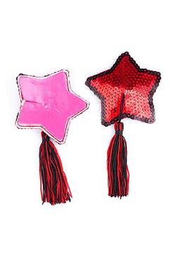Red Star Sequin Black Tassel Reusable Burlesque Nipple Pasties
