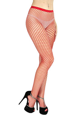 Red Fishnet Full Tights Pantyhose