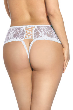 Donna White Lace-up Open Crotch Thong PLUS