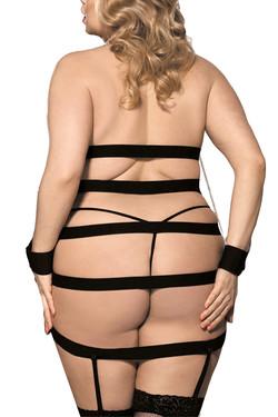 Dita Mesh Bondage Caged Garter Chemise Plus Size