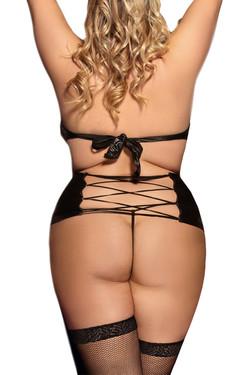 Felicity Halter Choker Vinyl Bondage Garter Dress Plus Size