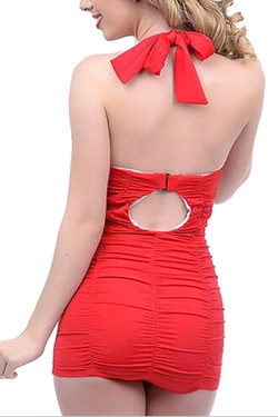 Bettie Red Pin-up One Piece Ruched Retro Vintage Swimsuit