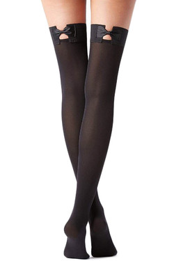 Semi Opaque Bow Thigh High Stockings