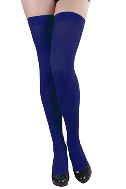 Navy Blue Opaque Thigh Stockings