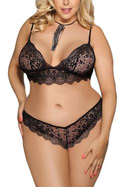Black Charmaine Lace Bralette Cheeky Panty Set Plus
