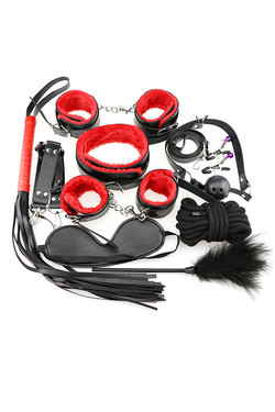 Red & Black Faux Leather Fur Lined 13 piece Beginner's Bondage Kit
