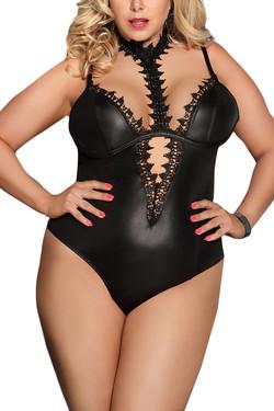 Ivana Vinyl Faux Leather Elegant Teddy Plus Size