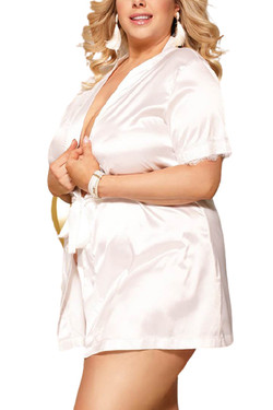 Laurie White Satin Back Lace Robe Set Plus Size