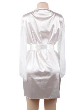 Emy White Satin Lace Sleeves Robe Set Plus Size