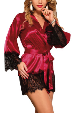 Veronica Red Satin Black Lace Trimmed Robe Set