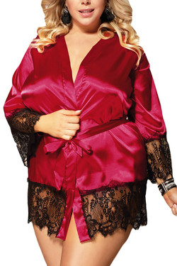 Veronica Red Satin Black Lace Trimmed Robe Set Plus Size