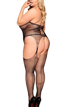 Gwen Halter Fishnet Patterned Garter Body Stockings Plus