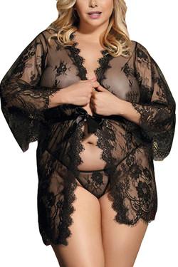 Black Debbie Sheer Eyelash Lace Kimono Robe Plus Size