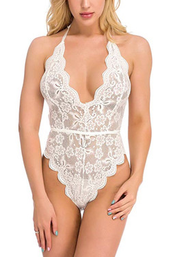 Olive White Halter Scallop Lace Backless Bodysuit Teddy