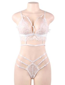 Emma White Lace Strappy Bralette Thong Lingerie Set