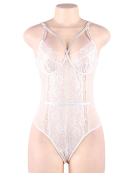 Naomi White Lace Strappy Teddy Bodysuit Lingerie