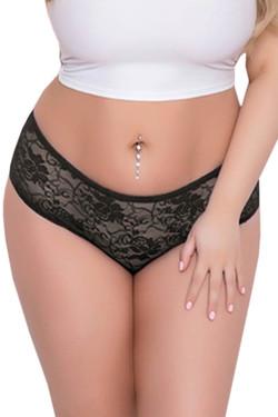 Joy Black Ruffle Back Open Crotch Lace Hipster Panty Plus Size
