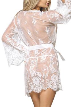 White Debbie Sheer Eyelash Lace Kimono Robe