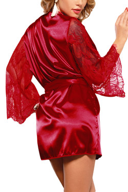 Emy Red Satin Lace Sleeves Robe Set