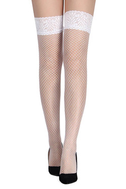 White Lace Top Fishnet Thigh high Stockings