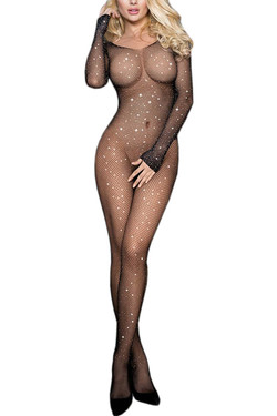 Glam Sparkle Long Sleeve Full Crotchless Body Stockings