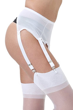 Bianca White Mesh Retro Garter Belt Panty Set Plus Size