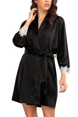 Ella Black Satin Chemise Robe Lingerie Set Plus Size