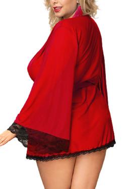 Matilda Red Sheer Lace Elegant Kimono Robe Plus Size